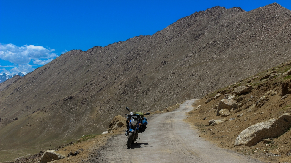 Wari La mountain pass in ladakh, india. adventurous and tough motorcycle ride.