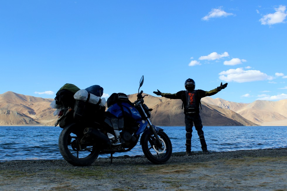 Footloose Nomad motorcycling Pangong Tso Ladakh India